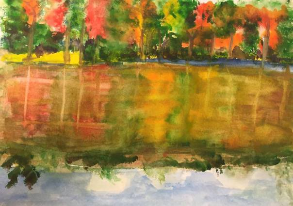 My first watercolor landscape. A fall scene of course.