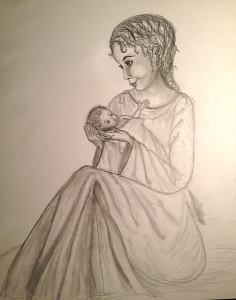 Seated Madonna. A drawing I did last Christmas
